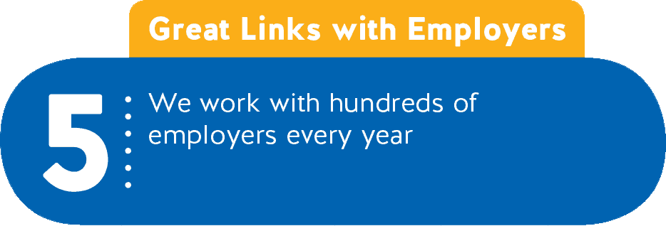 5 - Great Links with Employers - We work with hundreds of employers every year